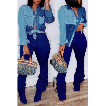 Lovely Casual Patchwork Blue Shirt