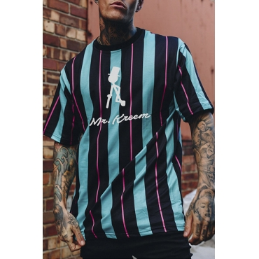 Lovely Casual Striped BlackT-shirt