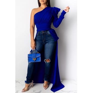 Lovely Work One Shoulder Blue Blouse