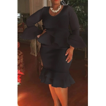 Lovely Casual Flounce Design Black  Knee Length Plus Size Dress