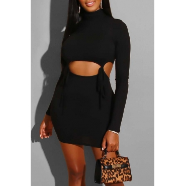 Lovely Casual Hollow-out Black Mini Dress