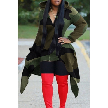 Lovely Casual Hooded Collar Camouflage Printed Hoodie
