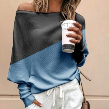 Lovely Work Color-lump Blue Sweater