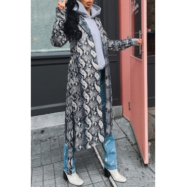 Lovely Casual Printed Silver Coat