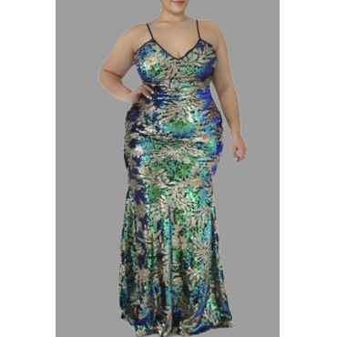 Lovely Casual Sequined Design Green Floor Length Plus Size Dress