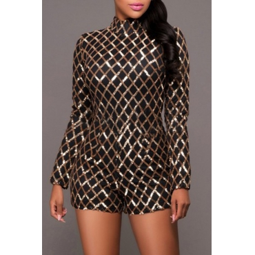 Lovely Casual Sequined Design Black One-piece Romper