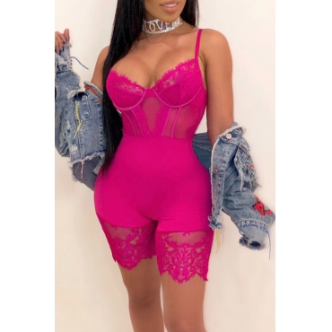 Lovely Sexy Hollow-out Rose Red One-piece Romper