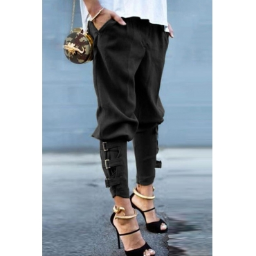 Lovely Casual Bandage Design Black Pants