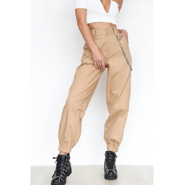Lovely Casual Basic Khaki Pants