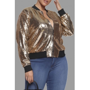 Lovely Casual Patchwork Gold Plus Size Jacket