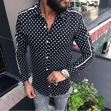 Lovely Trendy Turndown Collar Dot Printed Deep Blue Shirt