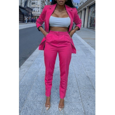 Lovely Trendy Turndown Collar Rose Red Two-piece Pants Set