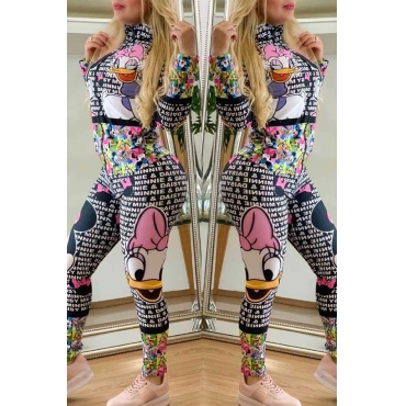 Lovely Casual Character Printed Multicolor One-piece Jumpsuit