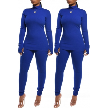 Lovely Casual Basic Blue Two-piece Pants Set