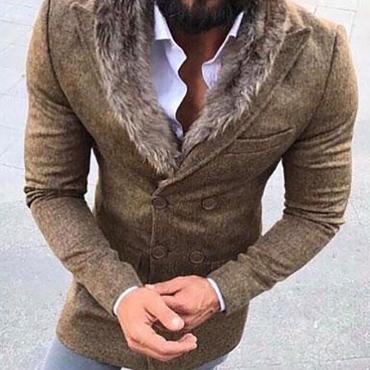 Lovely Casual Turndown Collar Light Tan Coat