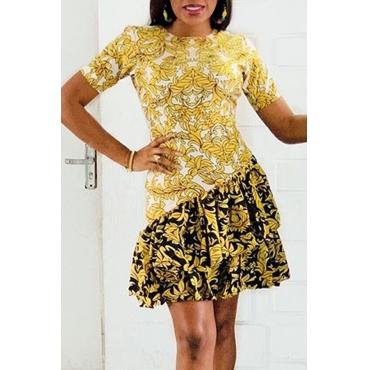 Lovely Casual Flounce Design Yellow Mini Dress