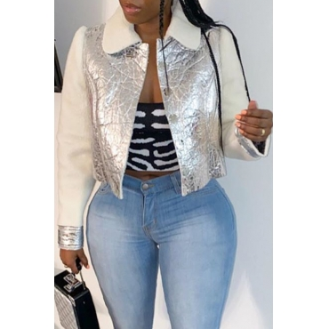 Lovely Casual Patchwork Silver Coat