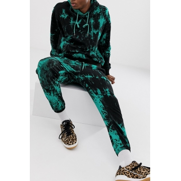 Lovely Casual Hooded Collar Green Two-piece Pants Set