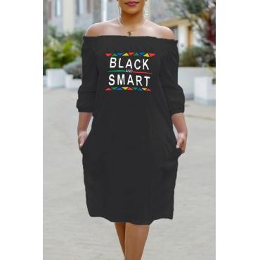 Lovely Trendy Letter Printed Black Knee Length Dress
