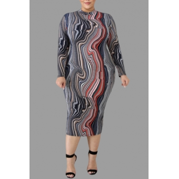 Lovely Casual Printed Grey Knee Length Plus Size Dress