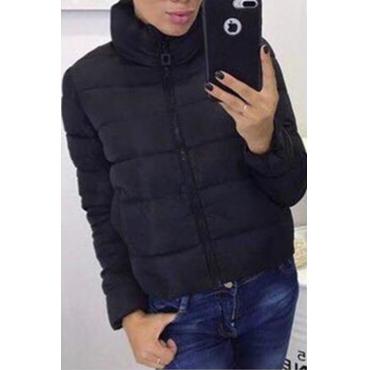 Lovely Casual Turndown Collar Black Coat