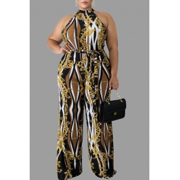 Lovely Casual Printed Khaki Plus Size One-piece Jumpsuit