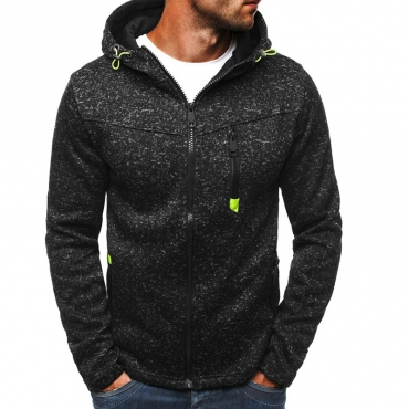 Lovely Casual Hooded Collar Zipper Design Black Hoodie