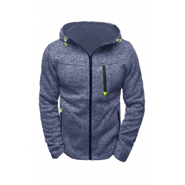 Lovely Casual Hooded Collar Zipper Design Blue Hoodie