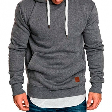 Lovely Casual Basic Dark Grey Hoodie
