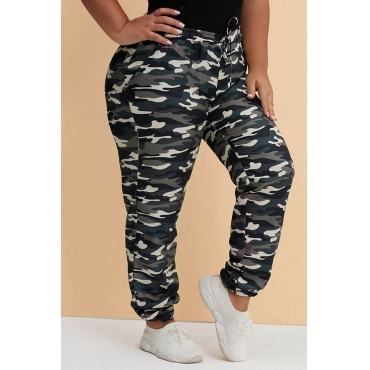 Lovely Trendy Camouflage Printed Green Plus Size Pants