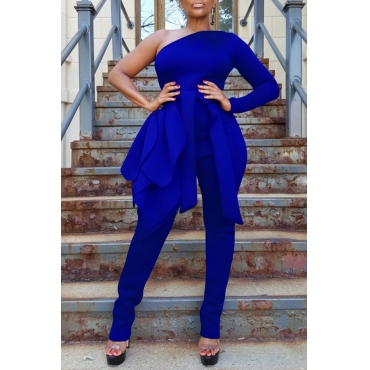 Lovely Leisure One Shoulder Blue One-piece Jumpsuit