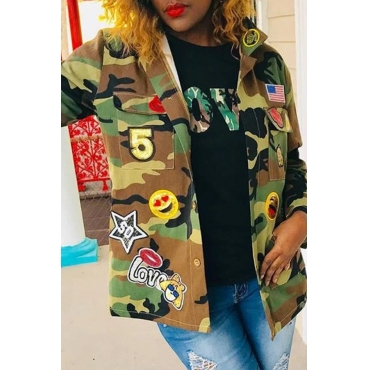 Lovely Trendy Camouflage Printed Coat