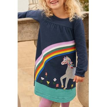 Lovely Christmas Day Printed Dark Blue Girls Knee Length Dress