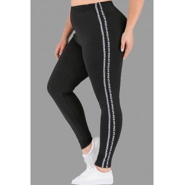 Lovely Casual Striped Black Plus Size Pants
