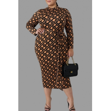 Lovely Casual Printed Brown Knee Length Plus Size Dress