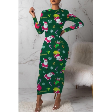 Lovely Christmas Day Printed Green Mid Calf Dress