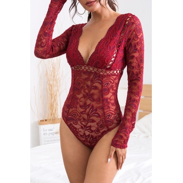 Lovely Sexy Deep V Neck Wine Red Teddies