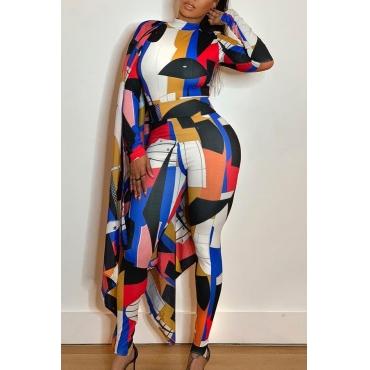 Lovely Trendy Cloak Design Multicolor One-piece Jumpsuit
