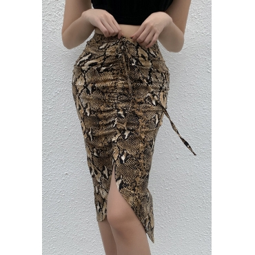 Lovely Casual Printed Brown Knee Length Skirt