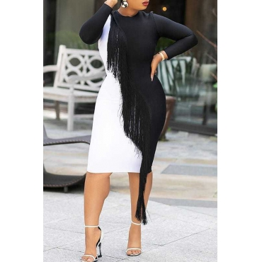 Lovely Casual Patchwork Black And White Knee Length Dress