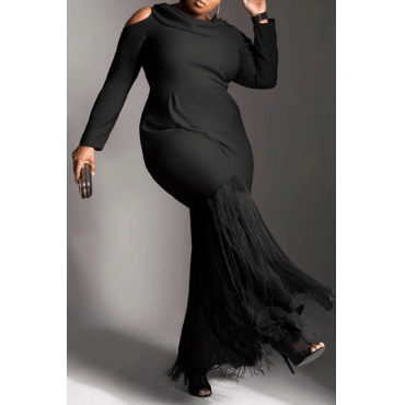 Lovely Casual Patchwork Black Floor Length Plus Size Dress