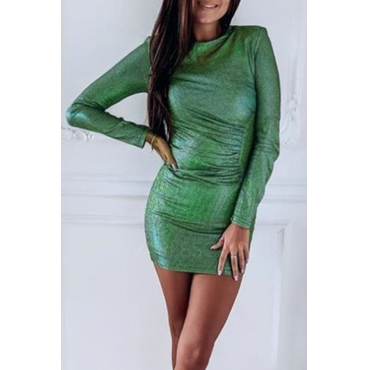 Lovely Casual O Neck Green Mini Dress