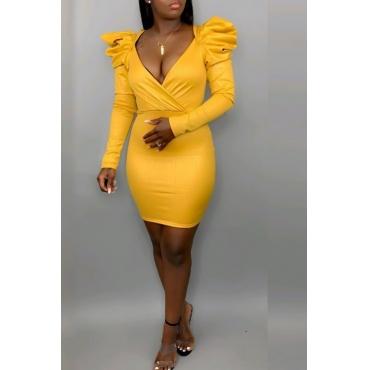 Lovely Sweet V Neck Flounce Yellow Mini Dress