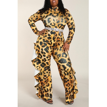 Lovely Chic Turtleneck Leopard Printed Plus Size One-piece Jumpsuit