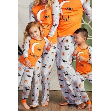 Lovely Halloween Printed Yellow Mother Two-piece Pants Set