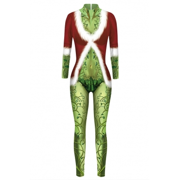 Lovely Cosplay Printed Red One-piece Jumpsuit