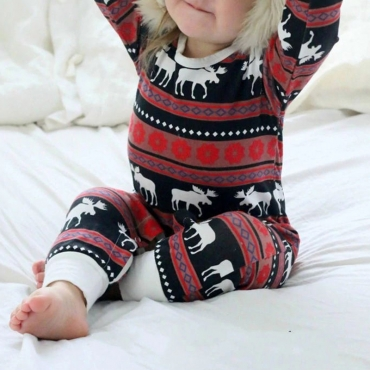 Lovely Family Printed Red Boys Two-piece Pants Set