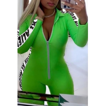 Lovely Sexy Letter Printed Green One-piece Romper