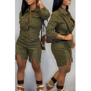 Lovely Casual Broken Holes Army Green  One-piece Romper