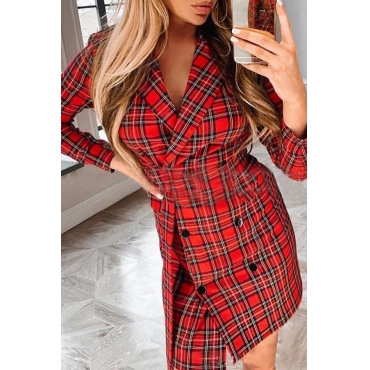 Lovely Casual Plaid Printed Red Blazer